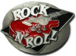 Rock n Roll Belt Buckle + display stand. Code FF4